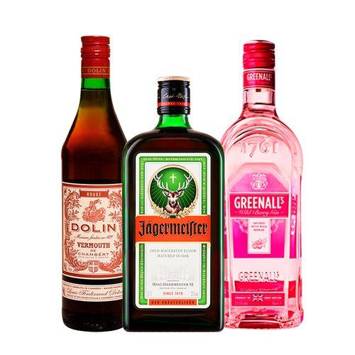 Combo Gin Greenall's, Jägermeister e Vermouth Dolin