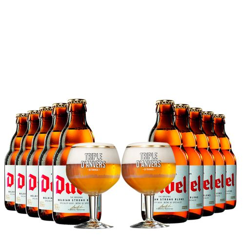 Kit de Cervejas Duvel com 02 Taça Triple Danvers