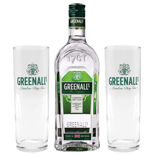 Kit Gin Greenall's Original Dry 700ml + 02 Copos